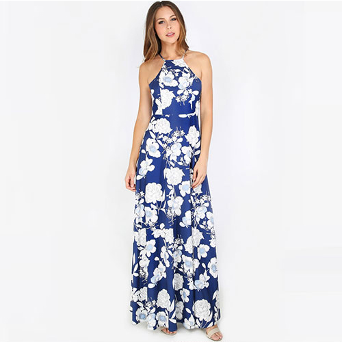 2018 New Halterneck Floral Print Maxi Dress