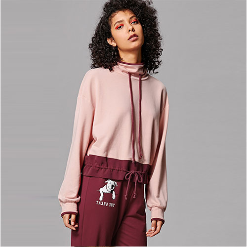 2018 Drawstring Neck And Hem Two Tone Sweatshirt