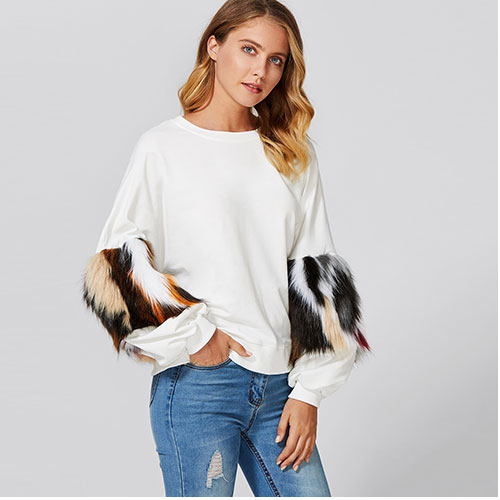 2018 New Drop Shoulder Pullover With Faux Fur Sleeve