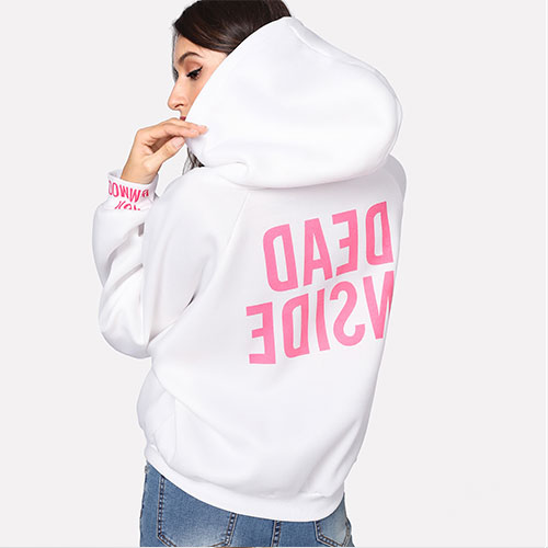 2018 New Solid color long sleeve letter printed hoodie