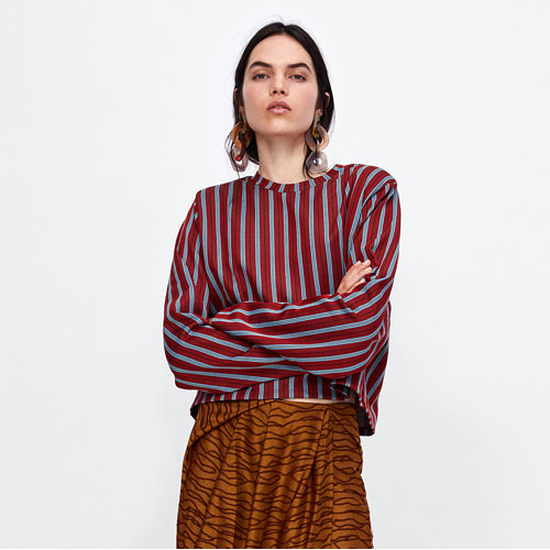2018 Vertical Stripes Cropped Sweatshirt With Puffed Shoulers