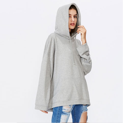 2018 New Drop Shoulder Drawstring Hooded Sweatshirt