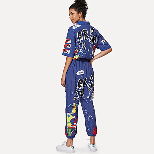 2018 Hot Graffiti Print Shirt Detail Jumpsuit