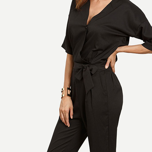 2018 Drop Shoulder Button Surplice Front Self Tie Jumpsuit