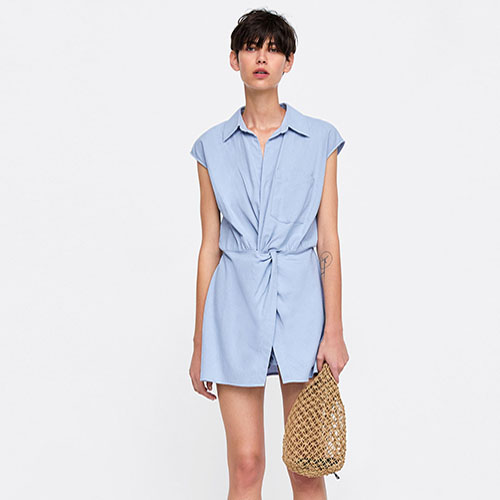 Cotton Light Blue Shirt Jumpsuit