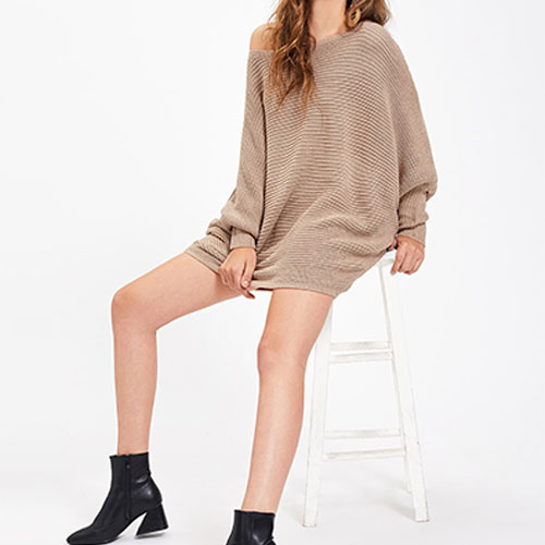 2018 Dolman Sleeve Long Chocolate With Thick Color Textured Jumper