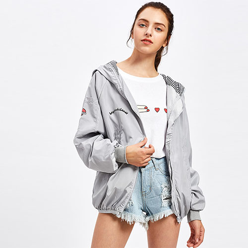 2018 Hot Letter Print Hooded Zip Up Jacket