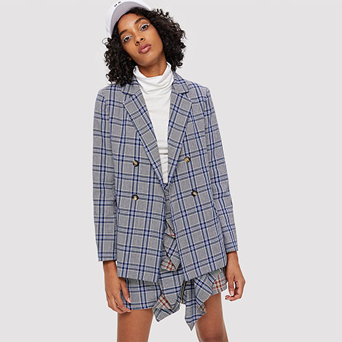 2018 Hot Notch Neck Pocket Detail Plaid Blazer