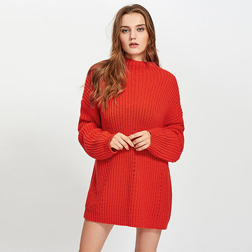 2018 Hot Exaggerate Long Sleeve Eyelet Detail Jumper