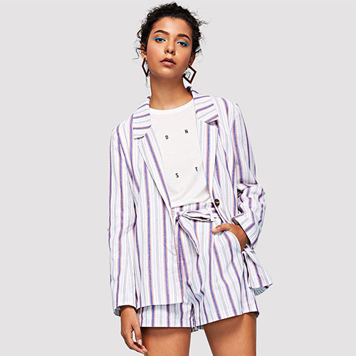 2018 Hot Notch Collar Roll Tab Sleeve Pinstripe Blazer