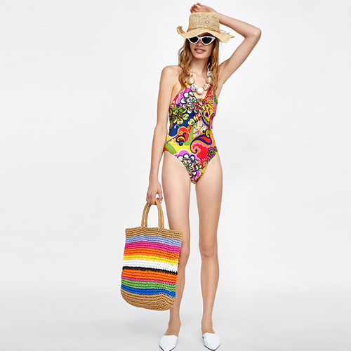 2018 Hot Printed Colorful One-Piece Swimsuit With Bow Tie