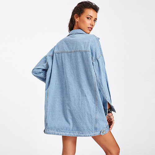 2018 Hot Drop Shoulder Oversized Pocket Denim Coat