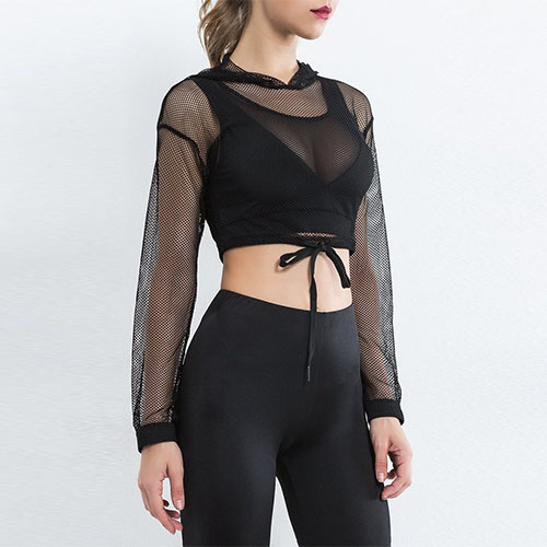 2018 See-Through Lace Up Crop Mesh Hoodie Without Bra