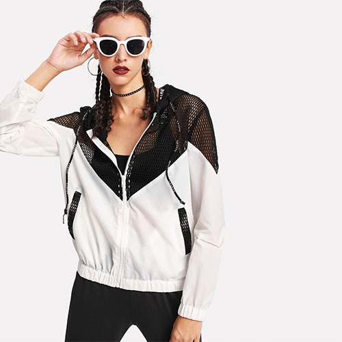 2018 Hot Two Tone Mesh Panel Hooded Jacket
