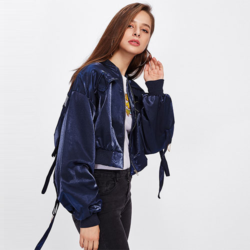2018 Hot Red-crowned Crane Embroidered Strap Detail Jacket