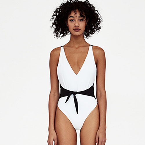 2018 Hot Black and white double color knotted one-piece swimsuit