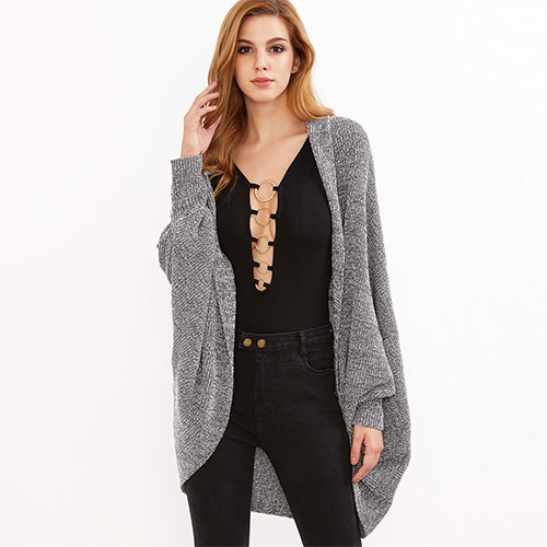 2018 Hot Grey Marled Shawl Collar Open Front Cocoon Cardigan
