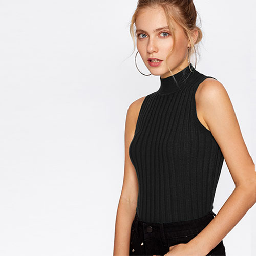 2018 Hot High Neck Ribbed Knit Sweater