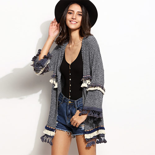 2018 Hot Grey Marled Knit Cardigan With Embroidered Tape And Fringe Detail