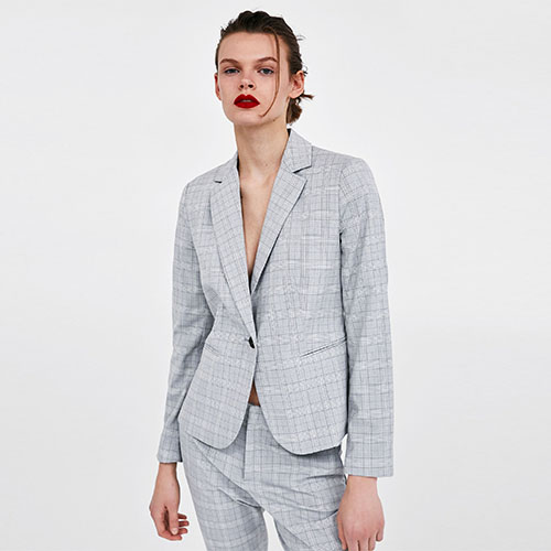 2018 Hot New Plaid Suit Jacket Long Straight Barrel