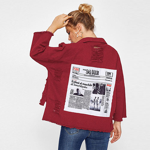 2018 Drop Shoulder Patch Back Distressed Jacket