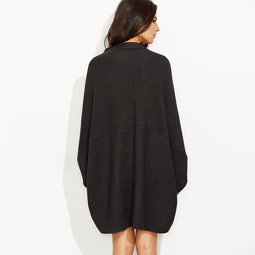 2018 Hot Black Shawl Collar Open Front Cocoon Cardigan