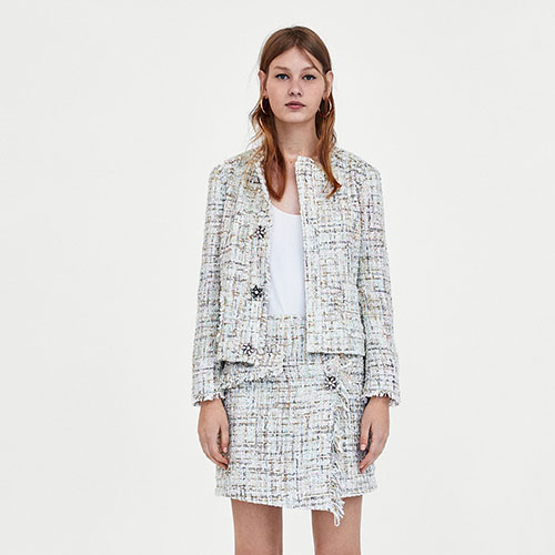 2018 Hot Cashmere Plaid Tweed Miniskirt Suit