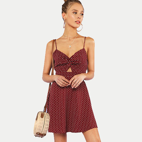 2018 New Polka Dot Twist Front Knot Back Cami Dress
