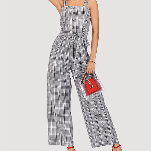 2018 Hot Plaid Suit For Retro Suit Jumpsuit