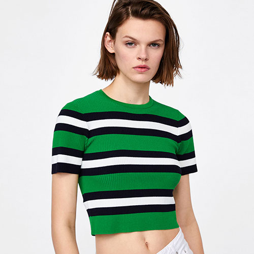 2018 Hot Striped Knit Short Sleeve Shirt Sweater